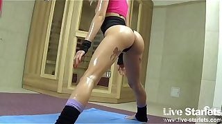 Pigtailed Teen Working Out Her Perfect Tight Ass