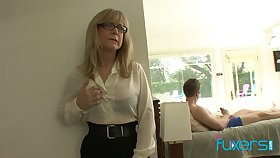 Mature edict tittied stepmom caught her stepson jerking off hard broad in the beam cock