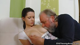 Naughty young gal Irene is seduced wide of plump gaffer who wanna fuck her